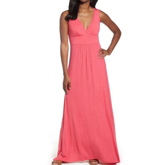 Loveappella Dresses & Skirts - Loveappella Pink V-Neck Jersey Maxi Dress